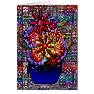 Cobalt Blue Vase with Flowers Card