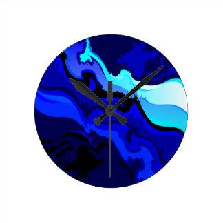 Cobalt Blue Wave Swirl Design Wallclock