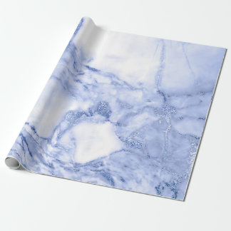 Cobalt Blue White Gray Marble Shiny Glam Wrapping Paper
