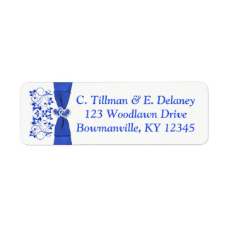 Cobalt Blue White Hearts Return Address Label 2