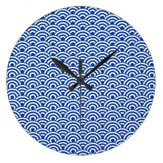 Cobalt Blue White Japanese Wave Pattern Wallclock
