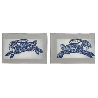 Cobalt Blue & White Rabbit Pillowcases Gray Marble