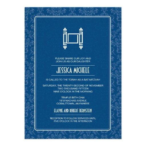 Cobalt Damask Torah Bat Mitzvah Personalized Invites