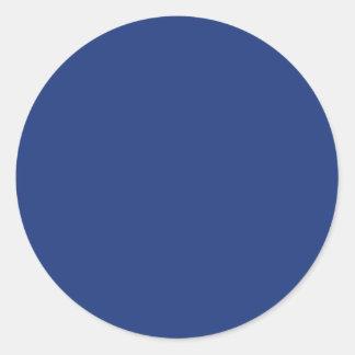 Cobalt Dark Blue Solid Trend Color Background Round Sticker