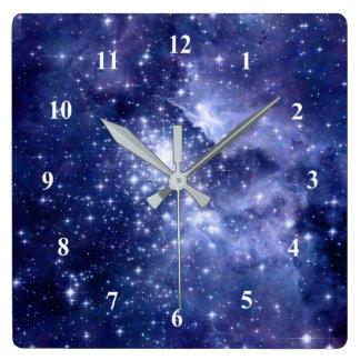 Cobalt Dreams Stars Galaxies Deep Space Universe Square Wall Clock