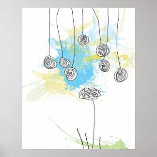 Cobalt Floral Splash-Poster Poster