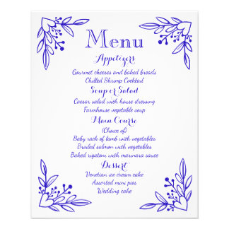 Cobalt Menu Navy Blue Flowers,  Hearts Wedding