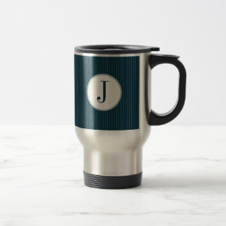 Cobalt Pinstripe Single Monogram Mug