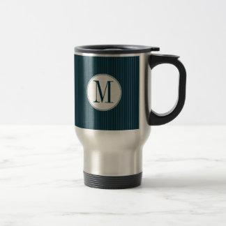 Cobalt Pinstripe Single Monogram Stainless Steel Travel Mug