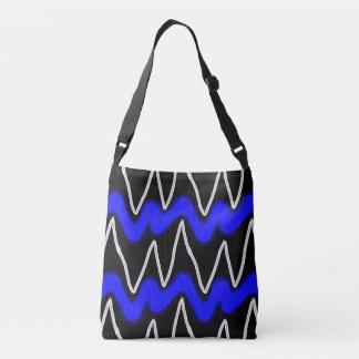 Cobalt & White Finger Paint Zigzags Tote Bag