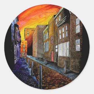 Cobbled Street Round Sticker