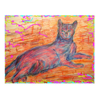 cobblestone cat postcard