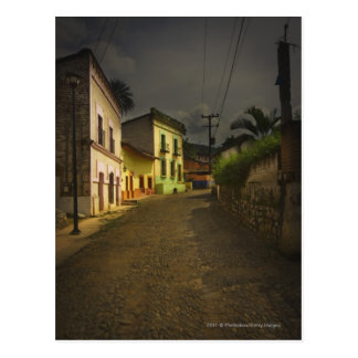 Cobblestone Road & Yellow Buildings in Mexico Postcard