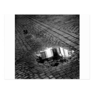 Cobblestone Street with puddle, Innsbruck Austria Postcard