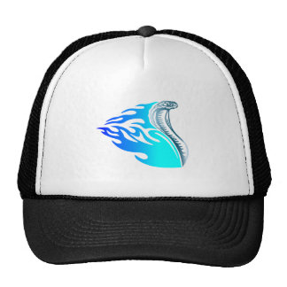 cobra flames design blue cap