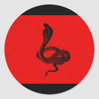 Cobra on Red Animal Design Round Sticker