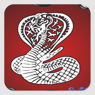 COBRA RED BACKGROUND PRODUCTS SQUARE STICKER