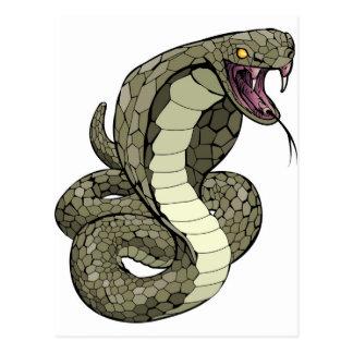 Cobra snake about to strike postcard