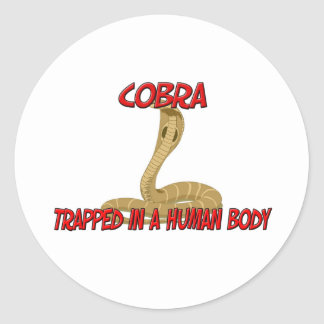 Cobra trapped in a human body round stickers
