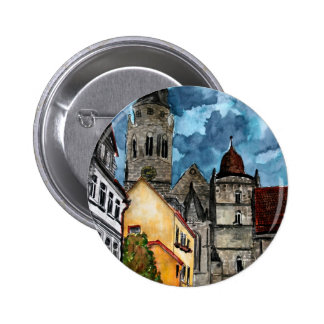 coburg germany castle and church watercolour art 6 cm round badge