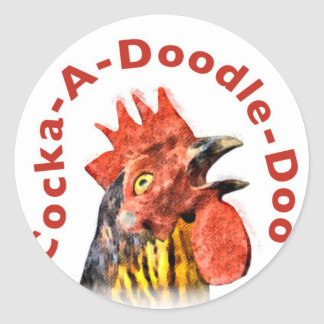 Cock-A-Doodle-Doo Rooster Round Stickers