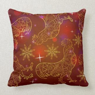 cock-a-doodle-doos golden throw pillow