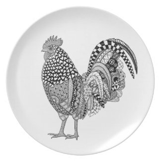 Cock-a-doodle Rooster Art Melamine Plate