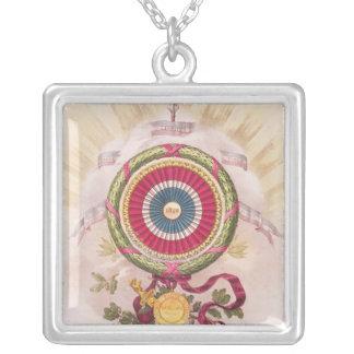 Cockade, emblem of 1848 square pendant necklace