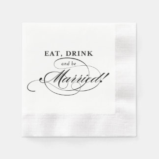 Cockail Napkin: Eat, Drink and be Married Disposable Napkin