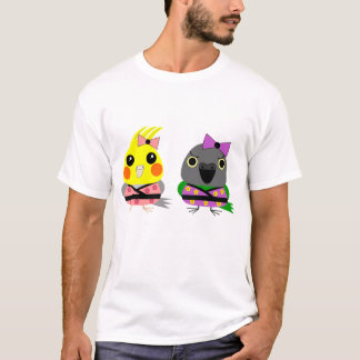 Cockatiel and Senegal Parrot in Kimonos T-Shirt