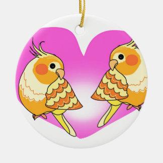 Cockatiel bird love on branch ceramic ornament