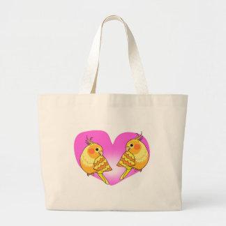 Cockatiel bird love on branch large tote bag