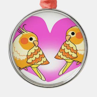 Cockatiel bird love on branch metal ornament