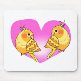 Cockatiel bird love on branch mouse pad