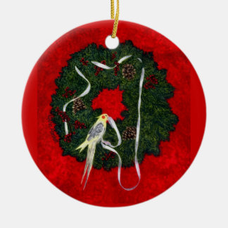 "Cockatiel, Bird Ornament - ""Santa's Little Helper"""