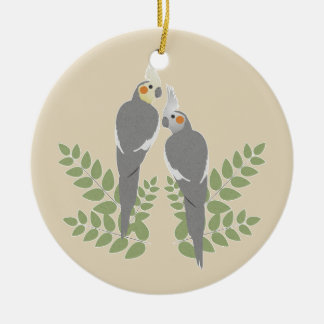 Cockatiel Couple Ceramic Ornament