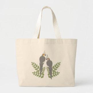Cockatiel Couple Large Tote Bag