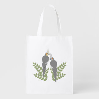 Cockatiel Couple Reusable Grocery Bag