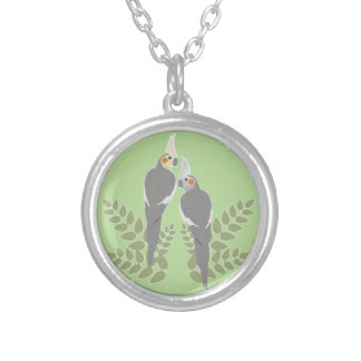Cockatiel Couple Silver Plated Necklace
