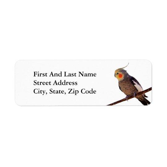 Cockatiel Grey and Yellow Pet Bird Photograph Return Address Label