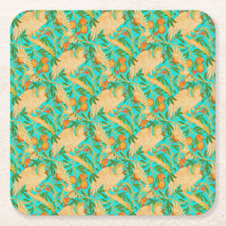 Cockatiel on Turquoise Square Paper Coaster