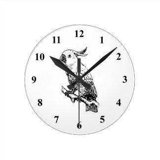 Cockatoo Bird Art Round Clock