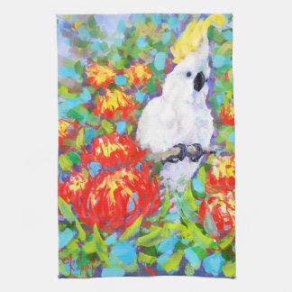 Cockatoo on Protea Tea Towel