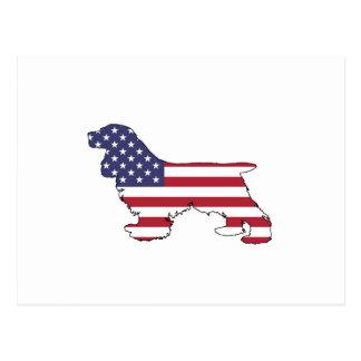 "Cocker spaniel ""American Flag"" Postcard"