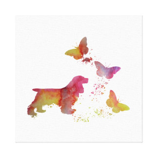 Cocker spaniel and butterflies canvas print