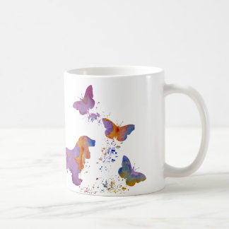 Cocker spaniel and butterflies coffee mug