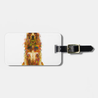 Cocker spaniel and watercolor luggage tag