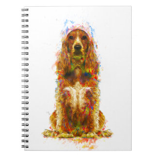 Cocker spaniel and watercolor notebook