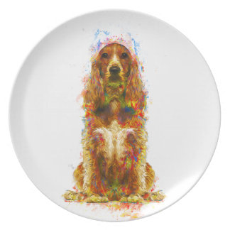 Cocker spaniel and watercolor plate