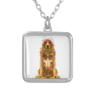 Cocker spaniel and watercolor silver plated necklace